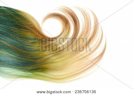 Blond And Blue Umbra Wig With Big Curl Isolated