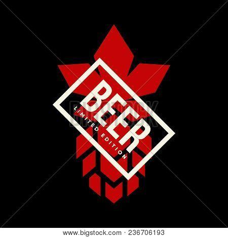Modern Craft Beer Drink Vector Logo Sign For Bar, Pub Or Tavern, Isolated On Dark Background. Premiu