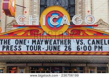 Chicago, Usa - June 28, 2013: Chicago Theatre Sign. Chicago Theatre Was Founded In 1921 And Is A Reg