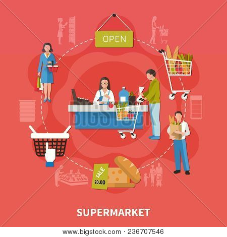 Supermarket Composition On Red Background With Customers, Goods, Buyer Near Cash Desk, Products With