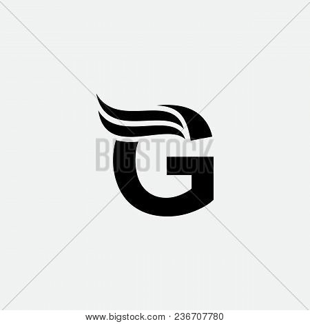G Letter Wings Logo Design Icon. Flying Wing Letter Logo With Creative Black Wing Concept.