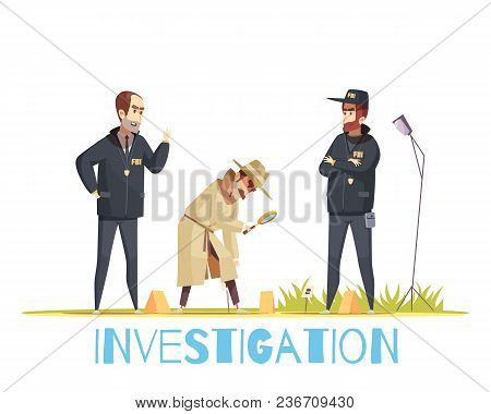 Detective Composition With Doodle Style Human Characters Of Policemen In Uniform And Private Detecti