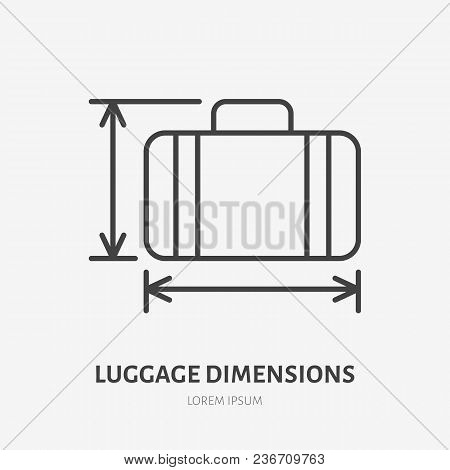 Luggage Dimensions Flat Line Icon. Retro Suitcase Sign. Thin Linear Logo For Airport Baggage Rules.