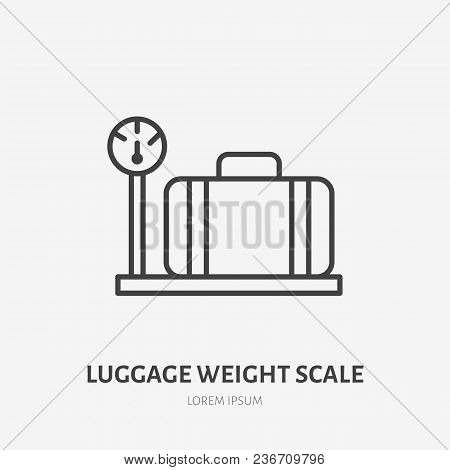 Luggage Weight Scale Flat Line Icon. Retro Suitcase Sign. Thin Linear Logo For Airport Baggage Rules