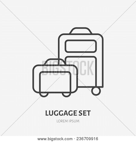Luggage Set Flat Line Icon. Wheeled Suitcase And Carry-on Sign. Thin Linear Logo For Airport Baggage