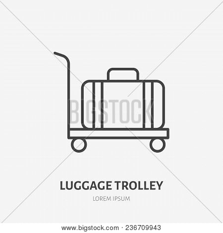 Luggage Trolley Flat Line Icon. Retro Suitcase Sign. Thin Linear Logo For Airport Baggage Rules.