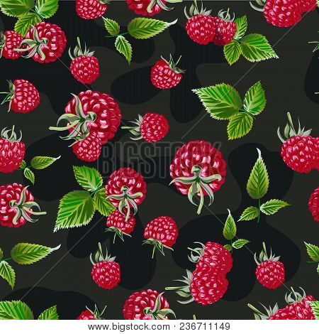 Raspberry Vector Seamless Pattern. Natural Fresh Bilberry Embroidery Background Pattern. Template Fo