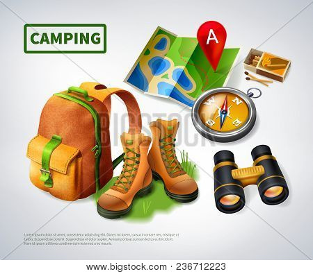 Camping Realistic Composition With Big Green Headline And Icon Set On Theme Vector Illustration