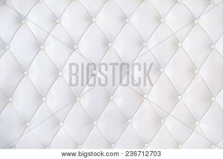 Leather Upholstery Sofa Background. White Luxury Decoration Sofa.