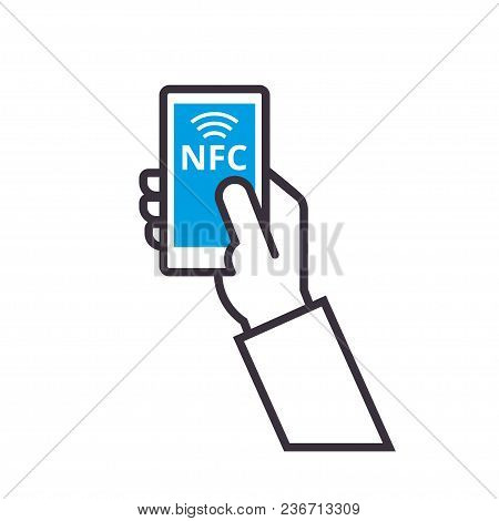 Mobile Payment With Nfc Technology. Near-field Communication Concept. Contactless Payment Vector Out