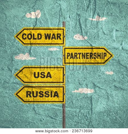 Road Signs With Usa And China Text. Image Relative To Politic And Economic Relationships Between Usa