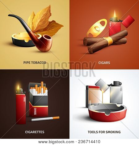 Tobacco Products Design Concept With Cigars, Cigarettes, Wood Pipe And Ashtray, Tools For Smoking Is