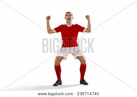 Happiness Football Player After Goal. The Professional Soccer Football And Human Emotions Concept. T