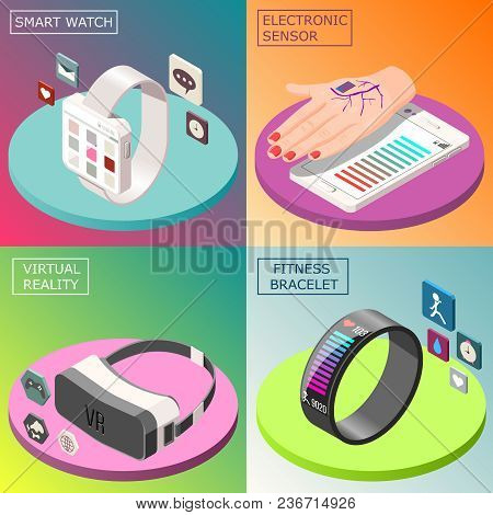 Portable Electronics Isometric Design Concept With Smartwatch, Virtual Reality Glasses, Medical Sens