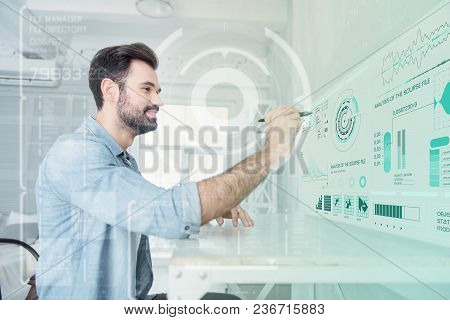 Creative Man. Clever Experienced Programmer Using Bright Diagrams While Testing His Unusual Program