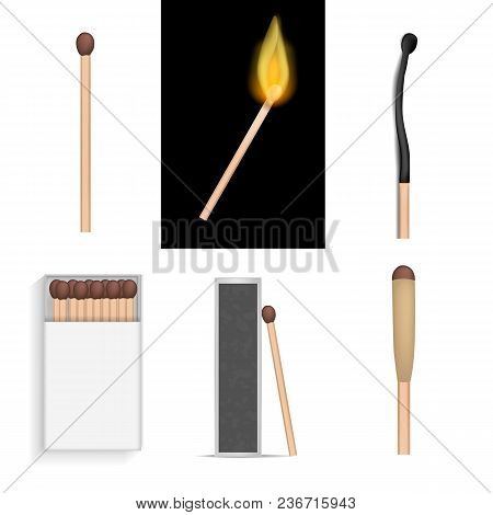 Safety Match Ignite Burn Mockup Set. Realistic Illustration Of 6 Safety Match Ignite Burn Mockups Fo