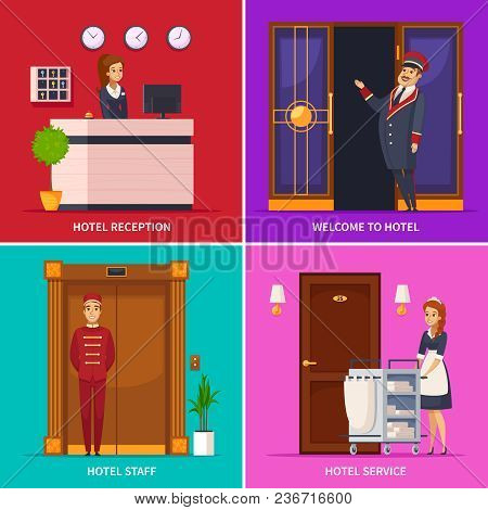 Hotel Service 2x2 Design Concept Set Of Square Icons With Doorman Receptionist Chambermaid Bellboy C