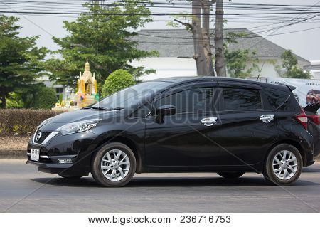 Chiang Mai, Thailand -march 22 2018: Private New Eco Car Nissan Note. On Road No.1001 8 Km From Chia
