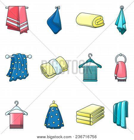 Towel Hanging Spa Bath Icons Set. Cartoon Illustration Of 12 Towel Hanging Spa Bath Vector Icons For