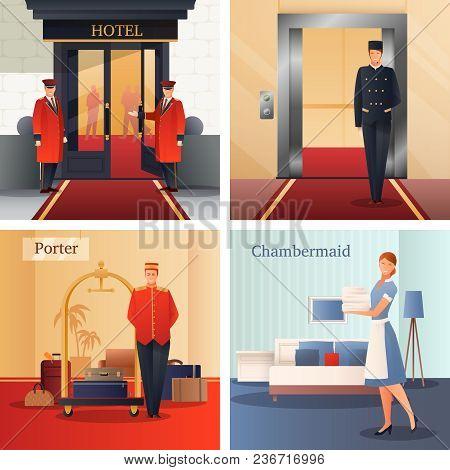 Hotel Staff Flat Gradient Design Concept With Doormen, Elevator Operator, Porter With Baggage, Maid