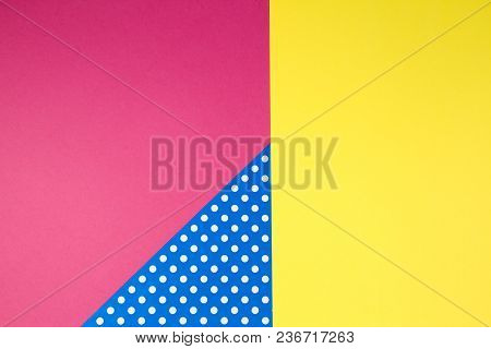 Abstract Geometric Yellow, Pink And Blue Polka Dot Paper Background