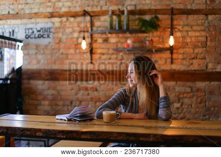 Blogger Went To Cafe With Friend To Make Beautiful Photos, Smiling Fair-haired Girl Wearing White Bl