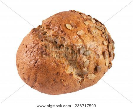 Bred With Different Types Of Flour And Seeds On A White Background