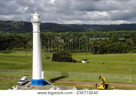 Panama Gatun Locks With The Lighthouse, Panama Canal