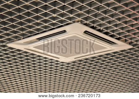 Smooth Beautiful White Trellised Ceiling With Air Conditioning Indoors As Background