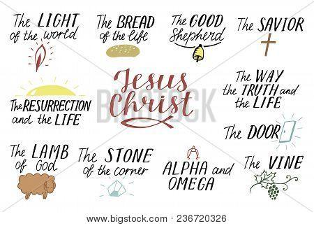 Set Of 11 Hand Lettering Christian Quotes About Jesus Christ. Savior. Door. Good Shepherd. Way, Trut