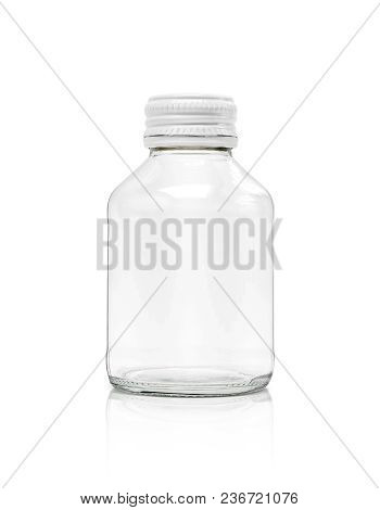 Blank Packaging Clear Glass Bottle With White Cap Isolated On White Background With Clipping Path