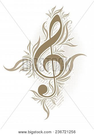 Abstract Musical Background In Grunge Style With A Treble Clef And Decorative Swirls In Brown Gamma.