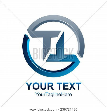 Initial Letter Tt Logo Template Colored Silver Blue Circle Design For Business And Company Identity
