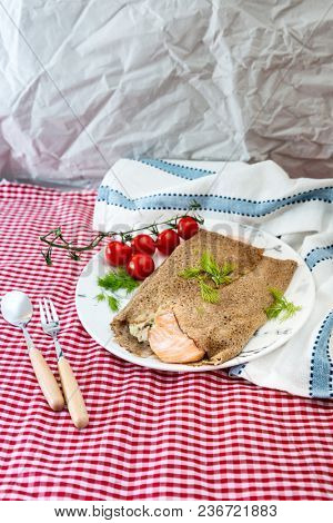 Homemade french buckwheat galette on the table