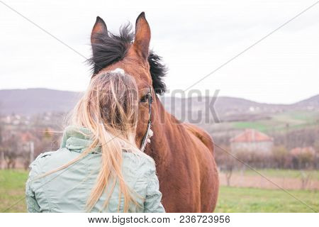 Beautiful Young Woman On The Ranch Bonding With A Brown Horse