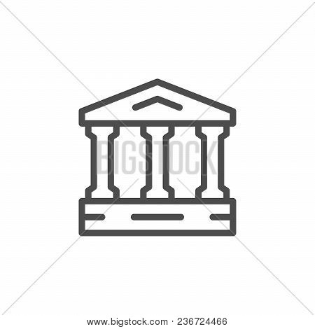 Ancient Building Line Icon Isolated On White. Vector Illustration