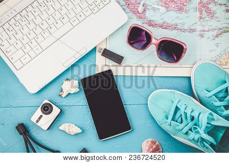 Overhead View Of Traveler's Accessories Travel Plan, Trip Vacation, Tourism Mockup Instagram Looking