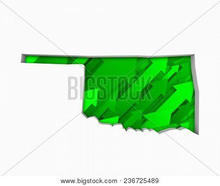 Oklahoma OK Arrows Map Growth Increase On Rise 3d Illustration