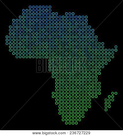 Dotted Gradient Africa Map. Vector Geographical Map In Green And Blue Gradiented Color Variations On
