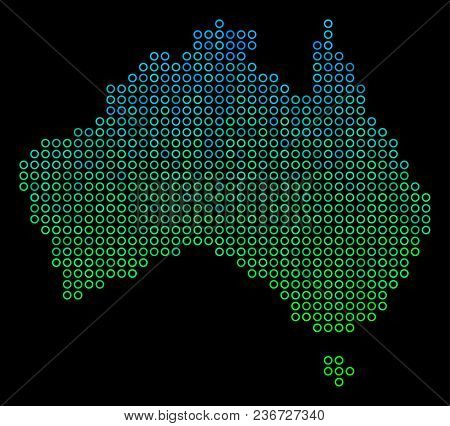 Dotted Gradient Australia Map. Vector Territory Map In Green And Blue Gradiented Color Tones On A Bl