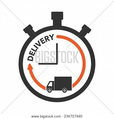 Express Delivery Icon Concept. Stop Watch With Truck Icon For Service, Order, Fast, Free And Worldwi