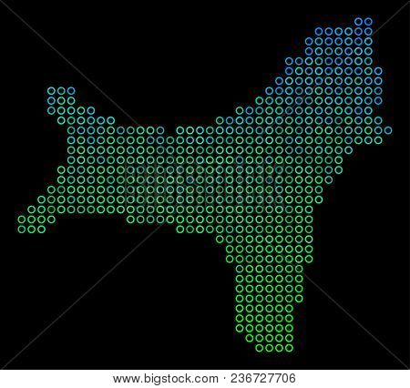 Dotted Gradient Christmas Island Map. Vector Geographical Map In Green And Blue Gradiented Color Ton