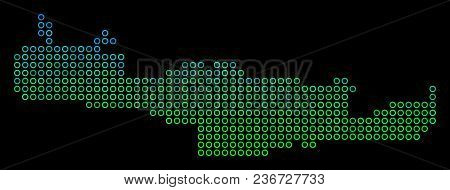 Dotted Gradient Crete Island Map. Vector Geographic Map In Green And Blue Gradiented Color Tones On