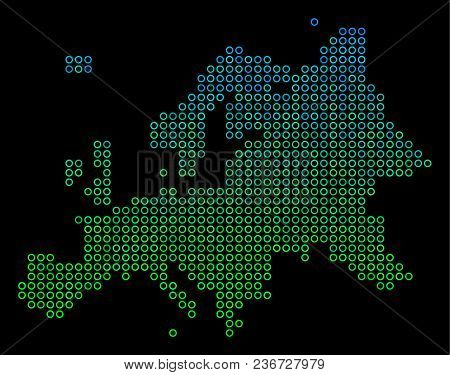 Dotted Gradient Europe Map. Vector Geographical Map In Green And Blue Gradiented Color Variations On