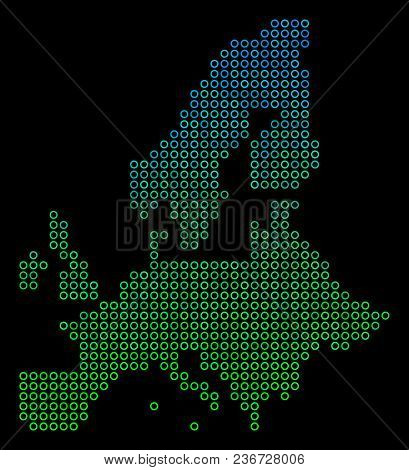Dotted Gradient European Union Map. Vector Geographic Map In Green And Blue Gradiented Color Shades