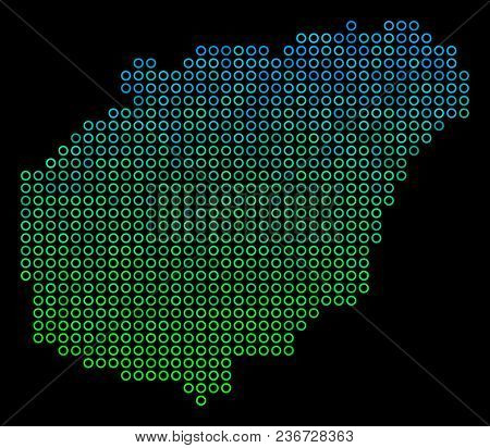 Dotted Gradient Hainan Island Map. Vector Geographic Map In Green And Blue Gradiented Color Tones On
