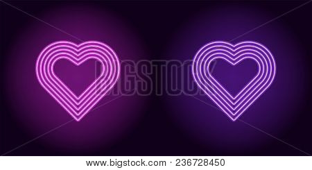 Neon Heart In Purple And Violet Color. Vector Illustration Of Neon Heart Consisting Of Five Outlines