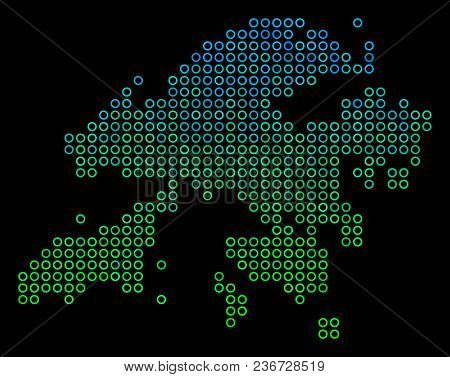 Dotted Gradient Hong Kong Map. Vector Territory Map In Green And Blue Gradiented Color Shades On A B