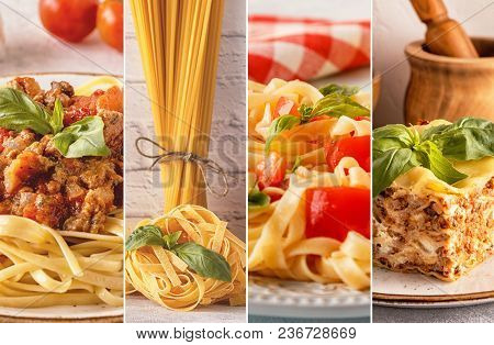 Collage With Different Pasta.collage With Different Pasta.