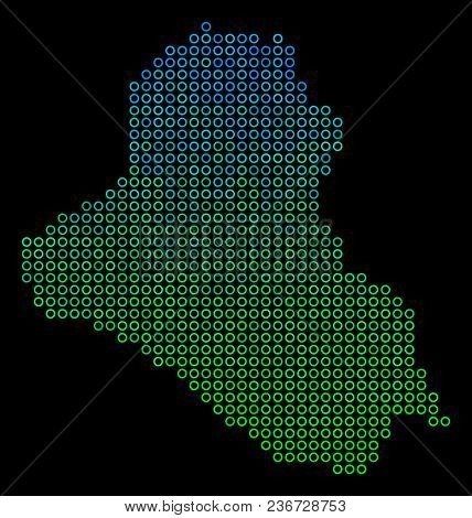 Dotted Gradient Iraq Map. Vector Geographic Map In Green And Blue Gradiented Color Tinges On A Black